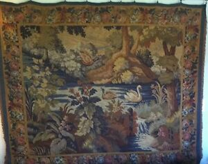 19th Century Woven Wool Silk Large French Tapestry Price Reduction
