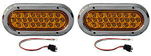 2 Led Amber 6 Strobe Light Kits With Chrome Covers