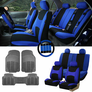 Blue Black Car Seat Covers For Auto W Steering Cover Belt Pads Floor Mat