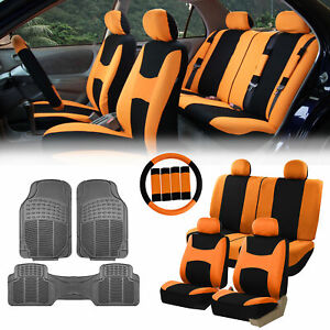 Orange Black Car Seat Covers For Auto W steering Cover belt Pads floor Mat