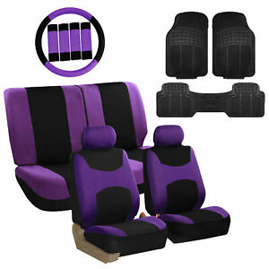 Lavender Black Car Seat Covers For Auto W steering Cover belt Pads floor Mats