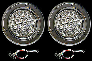 4 Led Clear amber Chrome Boat Trailer Stop Turn Lights