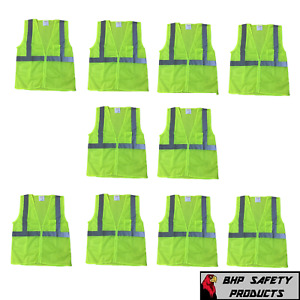 Neon Yellow Safety Vest W Reflective Striping Size Large 10 Pack