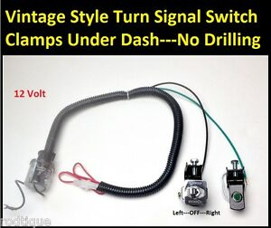 12 Volt Toggle Turn Signal Switch W Green Jeweled Indicator Antique Universal