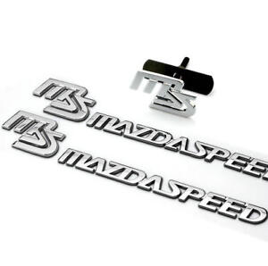 Chrome Metal Ms Auto Grill Badge Emblem Mazdaspeed Car Sticker Decal For Mazda