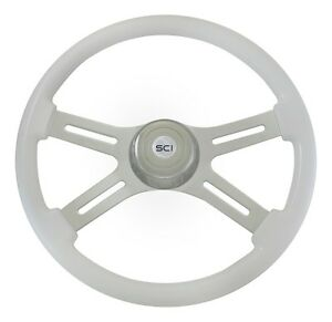 18 White 4 Spoke Classic Steering Wheel 3 Hole For Freightliner Peterbilt Kw