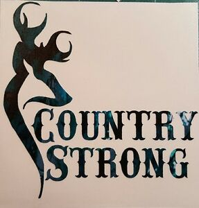 Teal Camo Country Strong Girl Truck Vinyl Decal 5 Cowgirl Hunt Deer Browning