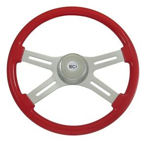 18 Viper Red 4 Spoke Classic Steering Wheel 3 hole For Freightliner Peterbilt