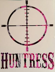 Huntress Vinyl Decal 5 Muddy Pink Camo Country Girl Browning Shooter Target