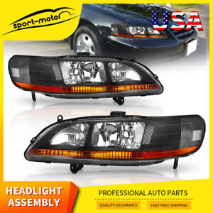 Headlights Assembly For 1998 2002 Honda Accord Black Front Headlamps Left right