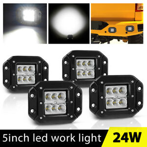 4x 5inch 24w Flush Mount Led Lights Pods Reverse Driving Flood Truck Jeep Atv 4