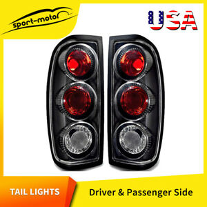 For 1998 2004 Nissan Frontier Cab Pickup Tail Lights Black Clear Rear Lamps Pair
