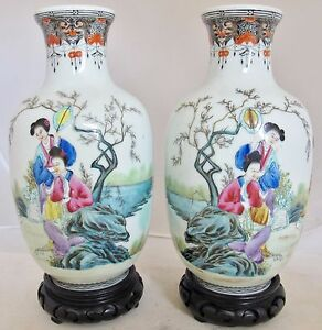 Antique 9 1 Pair Of Chinese Thin Porcelain Famille Rose Vases With Dignitary