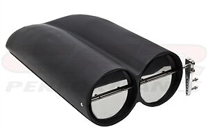 Shot Gun Black Aluminum Smooth Race Hood Scoop Chevy Ford Dodge Air Cleaner
