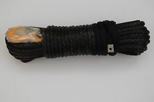 Black 3 8inch 100ft Synthetic Winch Rope plasma Winch Cable With Hook Thimble
