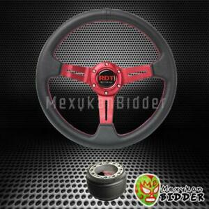 330mm Black red Drifting Deep Dish Steering Wheel Hub Adapter Integra 90 93