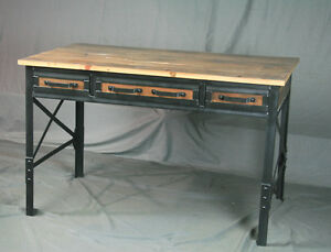 Vintage Industrial Desk With Drawers Reclaimed Barn Wood And Steel Rustic