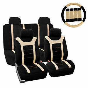 Car Seat Cover For Auto Full Set W steering Wheel Cover belt Pads 4heads Beige