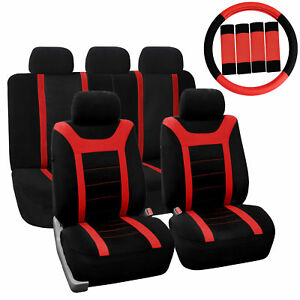 Car Seat Cover For Auto Full Set W steering Wheel Cover belt Pads 5heads Red