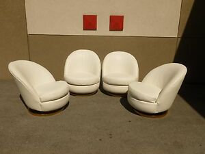 2 Pairs 70 S Sexy Milo Baughman White Leather Tub Lounge Club Chairs 1 4 P