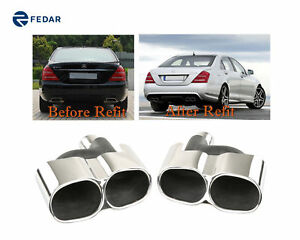 Fits Mercedes Benz S Class Amg Style S500 S550 Exhaust Pipe Tip Muffler Mirror
