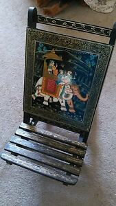 Vintage Wood Folding Chair From India Hand Painted Elephant Motif Trunk Up