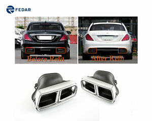 Fits Mercedes Benz S63 S65 Sl65 C63 Cls63 E63 Amg Style Exhaust Tip Muffler Pipe