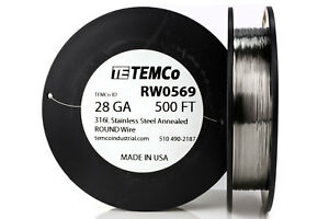 Temco Stainless Steel Wire Ss 316l 28 Gauge 500 Ft Non resistance Awg Ga