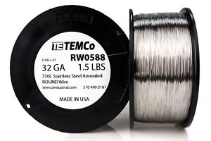 Temco Stainless Steel Wire Ss 316l 32 Gauge 1 5 Lb Non resistance Awg Ga