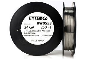 Temco Stainless Steel Wire Ss 316l 24 Gauge 250 Ft Non resistance Awg Ga