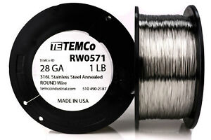 Temco Stainless Steel Wire Ss 316l 28 Gauge 1 Lb Non resistance Awg Ga