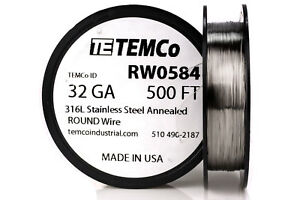 Temco Stainless Steel Wire Ss 316l 32 Gauge 500 Ft Non resistance Awg Ga