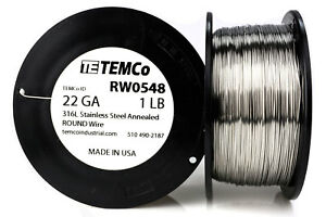 Temco Stainless Steel Wire Ss 316l 22 Gauge 1 Lb Non resistance Awg Ga