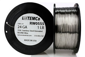 Temco Stainless Steel Wire Ss 316l 24 Gauge 1 Lb Non resistance Awg Ga
