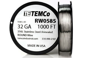 Temco Stainless Steel Wire Ss 316l 32 Gauge 1000 Ft Non resistance Awg Ga