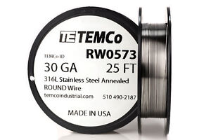 Temco Stainless Steel Wire Ss 316l 30 Gauge 25 Ft Non resistance Awg Ga