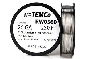 Temco Stainless Steel Wire Ss 316l 26 Gauge 250 Ft Non resistance Awg Ga