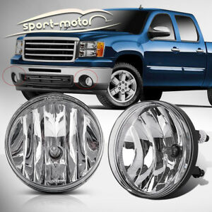 For 07 13 Gmc Sierra 1500 2500 Hd Clear Front Bumper Fog Lights Lamps Left Right
