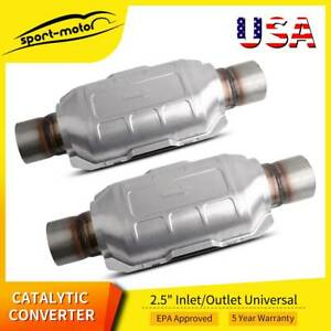 2pcs 2 5 Universal Catalytic Converter 83166 For Chevy Silverado 1500 Gmc Ford