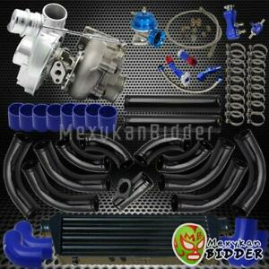 Universal T3 t4 V band Turbo Charger Kit W Pipings intercooler couplers Blue
