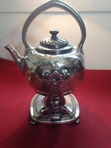 Rare Antique Silver Reed Barton Tipping Tea Cofee Pot Kettle W Stand Burner