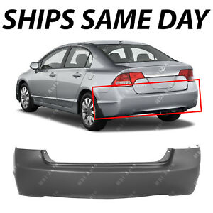 New Primered Rear Bumper Cover Replacement For 2006 2011 Honda Civic Sedan 4dr