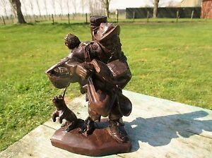 Hand Carved Wood Statue Figurine Old Man With Baby In Bag Dog Lovely 8 66