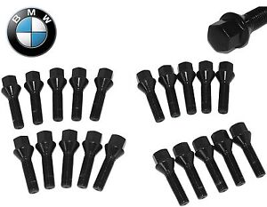 20 14x1 5 Black Cone Seat Lug Bolts Extended Length 40mm 50mm Fits Audi Bmw