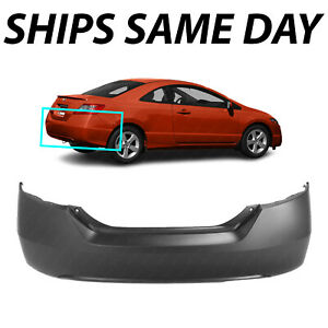 New Primered Rear Bumper Cover Replacement For 2006 2011 Honda Civic Coupe 2dr