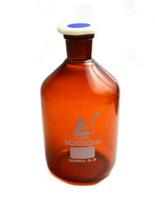 1000 Ml Amber Reagent Bottle Acid Proof Polypropylene Stopper Socket 29 32