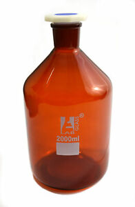 2000 Ml Amber Reagent Bottle Acid Proof Polypropylene Stopper Socket 34 35