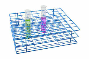 Blue Epoxy Coated Steel Wire Test Tube Rack 80 Holes 8x10 Format