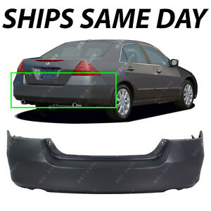 New Primered Rear Bumper Fascia For 2006 2007 Honda Accord Sedan