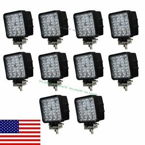 10x 48w Square Led Work Light Flood Off Road Driving Boat Suv Jeep Truck Us Ship